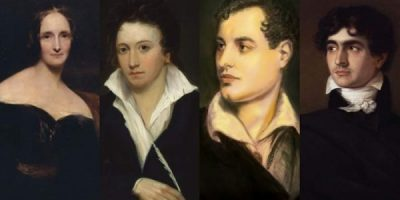Mary y Percy Shelley con Lord Byron y Polidori